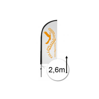 Strandzászló 2,6 m (Flying Banner - zászlórúd + nyomat) cápauszony alakú zászlóval